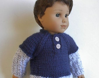 """18"""" Boy Doll Clothes Handknit Sweater in Blue and Gray Henley Style Buttons in Back  Handmade to fit American Girl Logan and Other 18"""" Dolls"""