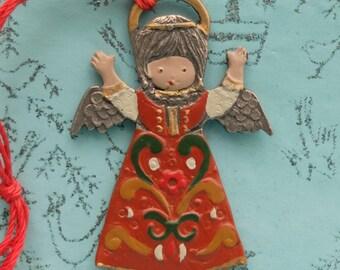 Vintage Angel Ornament Painted Metal