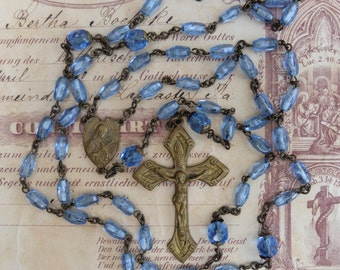 Vintage AS IS Rosary Blue Glass Beads Incomplete