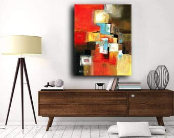 Original Painting Large Colorful Art, Acrylic on Canvas, Red Painting, Contemporary Art, Free Shipping, Ready to Hang