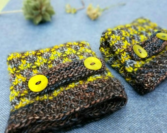Yellow and Gray Handknit Tweed Effect Fingerless Gloves.  Fine Merino Wool.