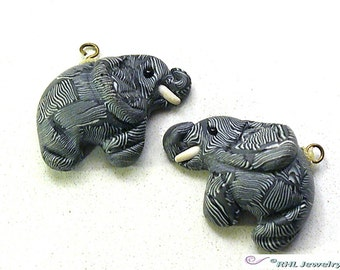 Beading Supplies - Elephant Charms - Clay Elephant Beads Trunks up - Destash Supplies - S-65
