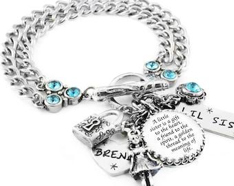 Personalized Little Sister Gift - Little Sister Bracelet - Sister Jewelry - Little Sister Quote - Step Sister - Friendship Bracelet