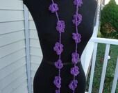 Crochet Lariat Necklace - Crochet Necklace Flowers - Sale - Purple Necklace - Wrap - Scarf