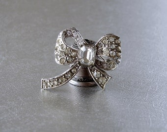 SWEET Little 1940s Rhinestone Bow Pin Vintage Costume Jewelry Brooch Lapel Hat Coat Dress Accessory Wedding Bridal Formal