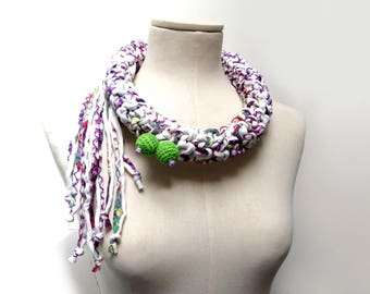 Crochet Statement Necklace - White Purple Lime Green Upcycled Jersey Yarn - Jersey Scarf Cowl - Crochet Jewelry - Textile Necklace