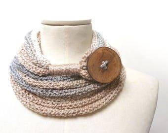 Knit Infinity Scarf Necklace, Loop Scarlette Neckwarmer - Cream, Beige, Grey ombre yarn with big wood button - Handmade