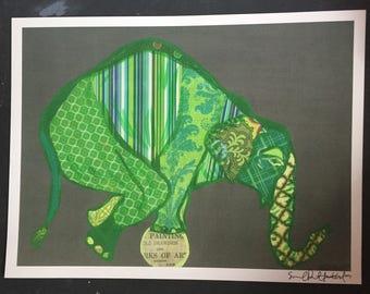 Green Balancing Elephant Collage Digital Print From Original Painting