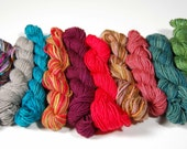Mini Skein set 5- 10 skeins approx 20 yards each -sock and fingering weight yarn
