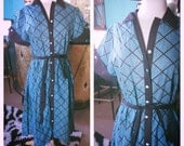 Vintage 1940s Dress blue print L XL Swing Rockabilly Pinup 40s 1950s 50s