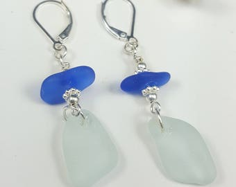Sea Glass Earrings Sea Glass Jewelry Cobalt Blue Sea Glass Earrings Beach Glass Earrings   E-213