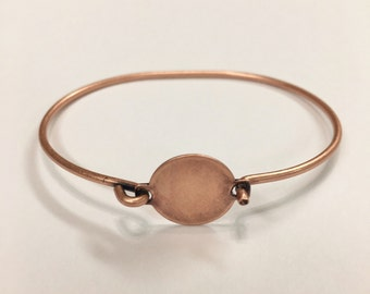 Stampable Wire Bracelet, Oxidized Copper Plated Wire Bangle Cuff with 14mm Round Hinged Top, Perfect For Stamping, Cabochons or Buttons