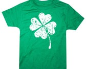 Kids Lucky Four Leaf Clover Shirt St. Patrick's Day T-Shirt Youth Tee