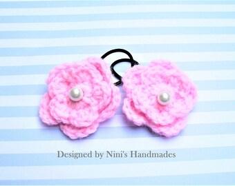 Reusable Versatile Light Pink Crochet Flower Ponytail Holder Hair Tie, crochet flower hair accessories, pink flower hair