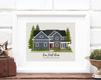 Custom Home Illustration, Mothers Day Gift for Mom, New House Gift, First Home, Cabin, Housewarming Gift, Childhood Home - 8x10 Art Print