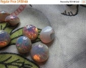 ON SALE 18% off Pink Harlequin Opal 34ss or 7mm Round Glass Point Back Cabochons 8 Pcs