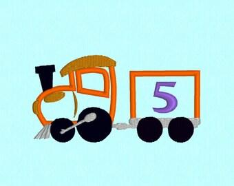 Birthday Train 5 applique machine embroidery design file