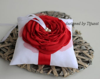 Wedding ring bearer pillow with red rose  ---wedding rings pillow , rings cushion, wedding pillow
