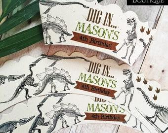 Dinosaur Dig Cupcake Wraps,Dinosaur Birthday Party,Cupcake Wrappers,Dino Dig,Dinosaur Excavation,Dinosaur Fossils,Birthday Party Supplies