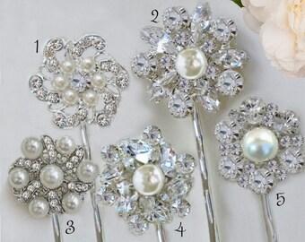 Your Choice, Wedding Hair Pins, Bridal Bobby Pin, Crystal Hair Clips, Pearl Hair Pin set, Silver Hair Accessory, Bridesmaids gifts