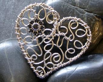 Sterling Silver wire heart, filigree, Black swarovski crystal