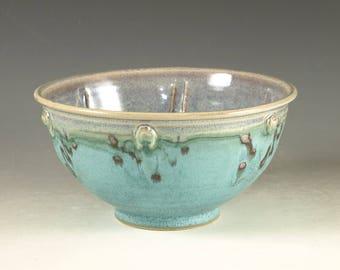 Stoneware pottery bowl ,  turquoise aqua handmade