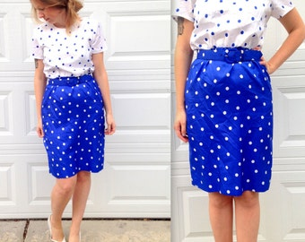 1980's Blue and White Belted Polka Dot Colorblock Dress in Large . Polka Dot Wiggle Dress . knee length plus size . 80s party prom dress