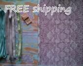 FREE Ship DIY Fabric + Notions Pastel Strips & Lilac for 1 BRA + Panty by Merckwaerdigh