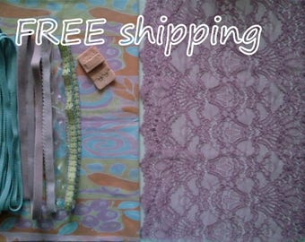 FREE Ship DIY Fabric + Notions Pastel Strips & Lilac for 1 BRA + Panty by Merckwaerdigh