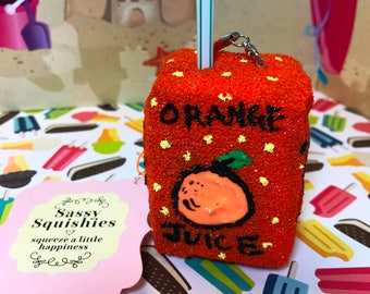SASSY SQUISHIES Squishy Party Favor Gift Collection Hobby in Slow Rise Orange Juicebox