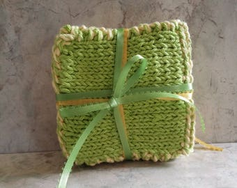 Lemon Lime Summertime  Drink Coasters  Cotton Handknit Set of 4 Yellow and Green reversible  Gift under 25