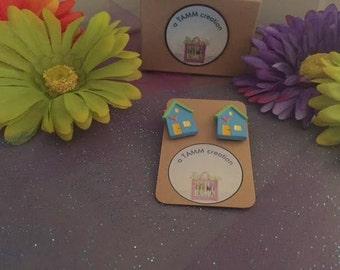 Acrylic House Earrings