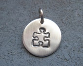 Puzzle Piece Sterling Silver Charm - 1/2  inch - Gift for Her - Autism Awareness - Silver Necklace - Jewelry - Puzzle Piece Gift - Autism