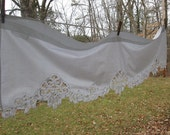 Vintage Battenburg Lace Valance - Single White Cotton Valance - Cottage Style - Two Available