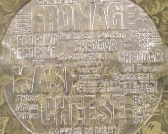 Vintage Glass Cheese Platter/ Server - Swedish Glassware - Crystal Art Glass - Bridal Shower
