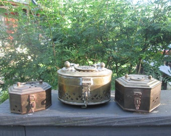 Three Vintage Brass Trinket/ Cricket Boxes - Brass Hinged Lid Boxes - Made In India - Set of Three Small Brass Boxes
