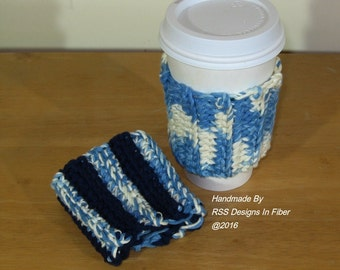 Cup Cozy Set of 2 in Blues - 2 Handmade Reusable Cup Cozies - Shaded Denim Blues and Navy Blue Cotton -
