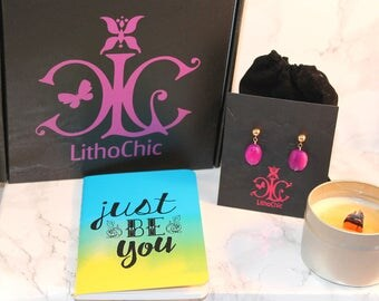 LCxo Fashion + Lifestyle Beauty Box: Gold Filled Purple Chalcedony stud earrings, 4 oz candle, inspirational mini notebook