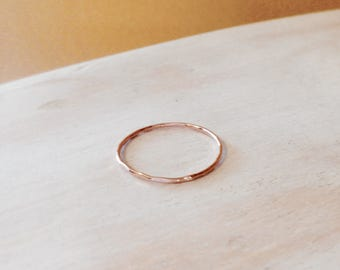 Dainty Rose Gold Ring 14K Rose Gold Very Thin Wedding Band Hammered & Slightly Wavy Stacking Ring - made to order in your finger size