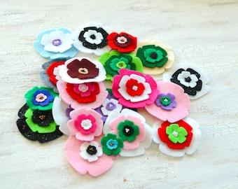 Die cut flowers, felt flower appliques, felt fabric flowers bulk, felt appliques, scrapbook embellishments (20pcs)- GRAB BAG FLOWERS (set14)