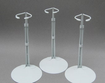 """3 Medium Metal Doll Stands Kaiser #2601 Adjusts 9"""" to 12"""" from Base Waist Holder 2 - 2.5 Inches Across 4.5 Inch Base"""