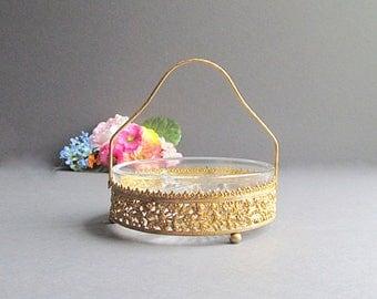Vintage Gold Dish, Divided Filigree Dish, Condiment Dish, Potpourri Holder, Victorian Bowl
