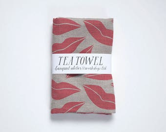 Hot Lips Linen Tea Towel - Screen Printed Red on Natural