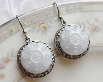 Frosty White, Earrings made with Vintage Glass Buttons,