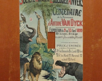 Zoo Expo -- Vintage 1899 Zoo Poster Light Switch Cover -- Oversized (Multiple Styles)