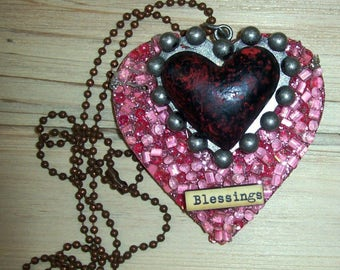 Blessings Double Heart Wearable Art Necklace Jewelry Mori Girl Lolita Altered Outsider Art Fashion Costume Couture Bold Novelty Original