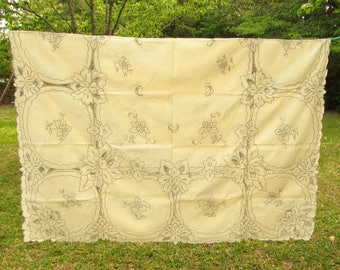 "Large Cutwork Tablecloth - 62"" x 84"" - cream beige ecru - vintage tablecloth - rectangle - floral"