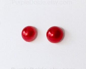 Holiday Red Faux Half Pearl Kawaii Post Earrings Stud Earrings No Metal Acrylic Posts Hypoallergenic Sensitive Ears Waterproof Jewelry 8mm