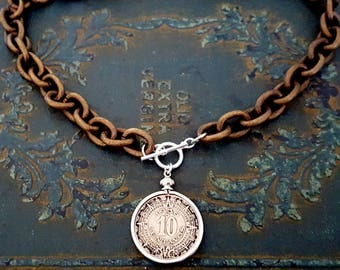 Chunky Bronze Chain Vintage Style Aztec Silver Coin Pendant Necklace, Coin Pendant Necklace, Chunky Chain, Statement Necklace, Unisex