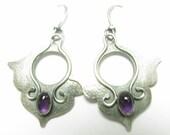 Amethyst Earrings, Sterling Silver Lotus Earrings, Purple gemstone Earrings, Silversmith Flower Earrings, February Birthstone Earrings